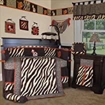 Custom Baby Bedding - Brown Zebra 13 PCS Crib Bedding