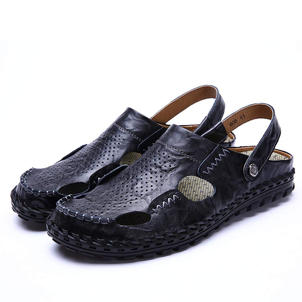 Leather Sandals for Men 2019 New Casual Lightweight Hiking Beach Water Shoes (US:9.5, Black 2)