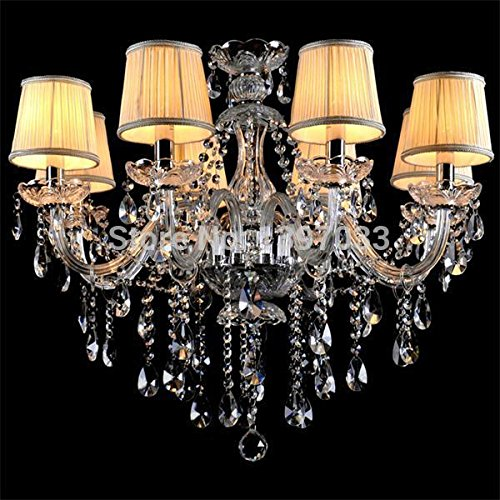 Chandeliers - Dhl Shipping Antique Brass Color Crystal Chandelier Lighting Fixture Big Luster Lamp Fits 8 Bulbs - White Flag Lamp Leather Collar Collars Leash Dogs Panel Solar Large Light Blue