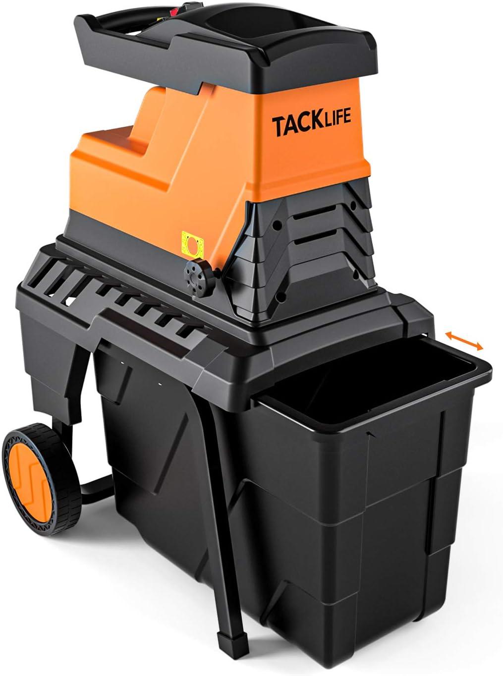 TACKLIFE Trituradora de Ramas, 2800W Biotrituradora Eléctrica, 90 dB Bajo Ruido, 45mm Máxima Capacidad de Corte, 55 L, Protección de Sobrecarga
