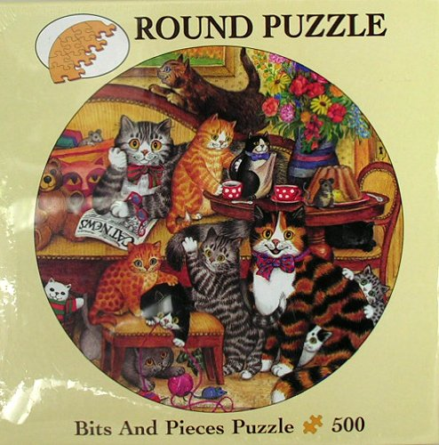 Bits and Pieces 500 Piece Round Puzzle Gisela Buomberger Family Hour Cats Kittens