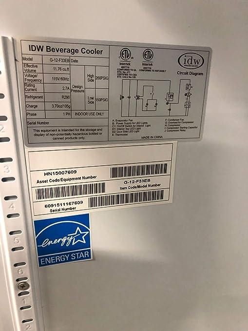 Amazon com: Glass Door Display Cooler Refrigerator IDW G-12F