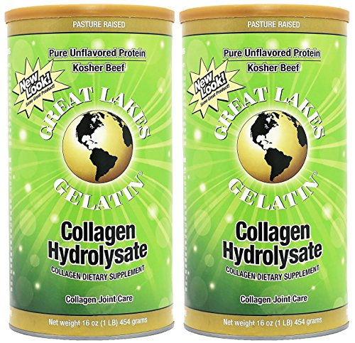 Great Lakes Gelatin, Certified Paleo Friendly, Pasture-Raised Grass-Fed, Collagen Hydrolysate, Collagen Peptides, Non GMO, 16 oz, 2-Pack, FFP (Collagen)