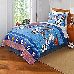 Twin Kids Sports Themed Quilt Set Bedding, Baseball Basketball Footaball Stars Childrens Quilt, Microfiber, Girls Boys Unisex Patterned Design Multi Color Red Blue Orange White Black