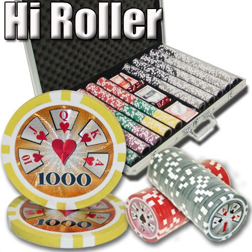 Brybelly 1,000 Ct Hi-Roller Poker Set - 14g Clay Composite Chips with Aluminum Case, Playing Cards, Dealer Button ()
