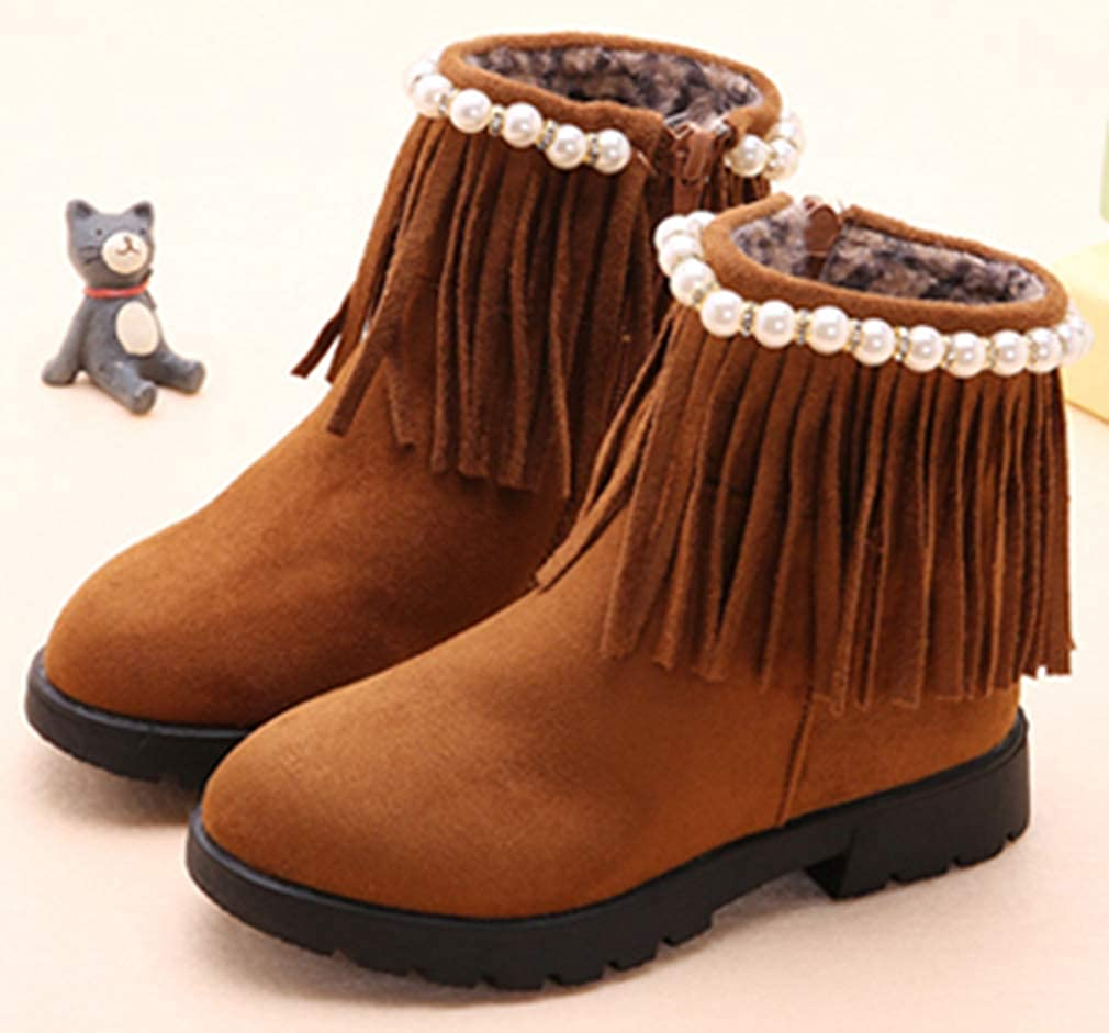 VECJUNIA Girls Ankle Boots with Tassels Beaded Winter Shoes Outdoors