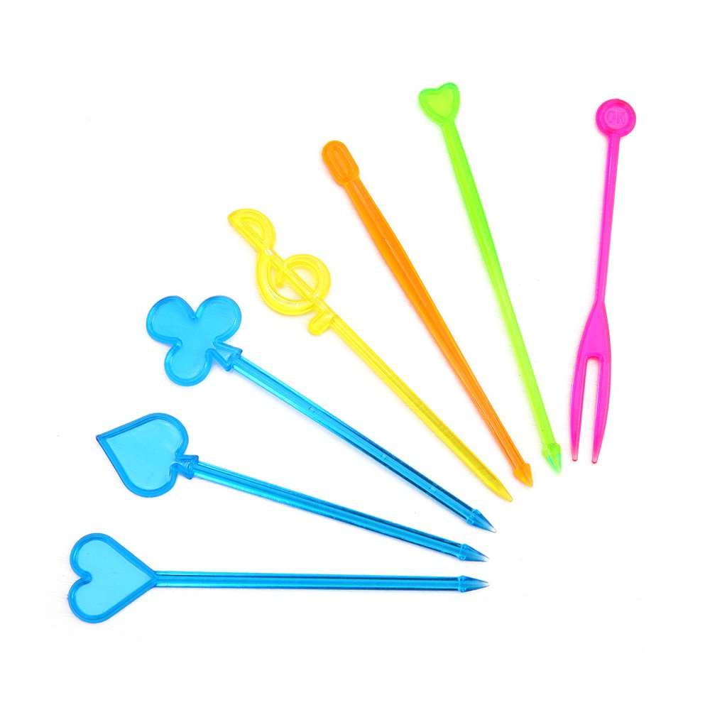 Cicitop Colorful Disposable Plastic Food Forks, Suitable for Picking Sandwich, Fruit, Snacks on The Occasion of Celebration, 50 Pcs.