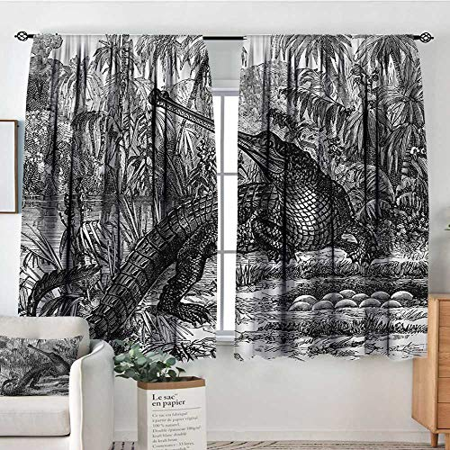 Vintage Blackout Window Curtain Old Fashion Sketch of A Crocodile in Forest Wildlife Nature Woods Fossil Picture Blackout Draperies for Bedroom 63