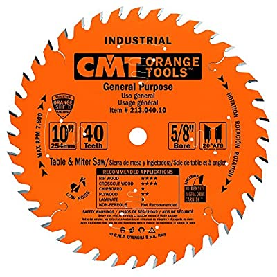 CMT 213.040.10 Industrial General Purpose Saw Blade, 10-Inch x 40 Teeth 20° ATB Grind with 5/8-Inch Bore, PTFE Coating