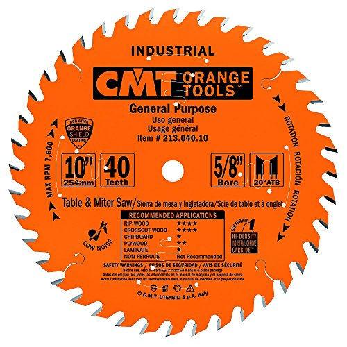 (CMT 213.040.10 Industrial General Purpose Saw Blade, 10-Inch x 40 Teeth 20° ATB Grind with 5/8-Inch Bore, PTFE Coating)