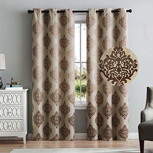 HowPlumb 2 Blackout Room Darkening Window Curtains 96″ Length Taupe Damask Grommet Panel Pair Drapes