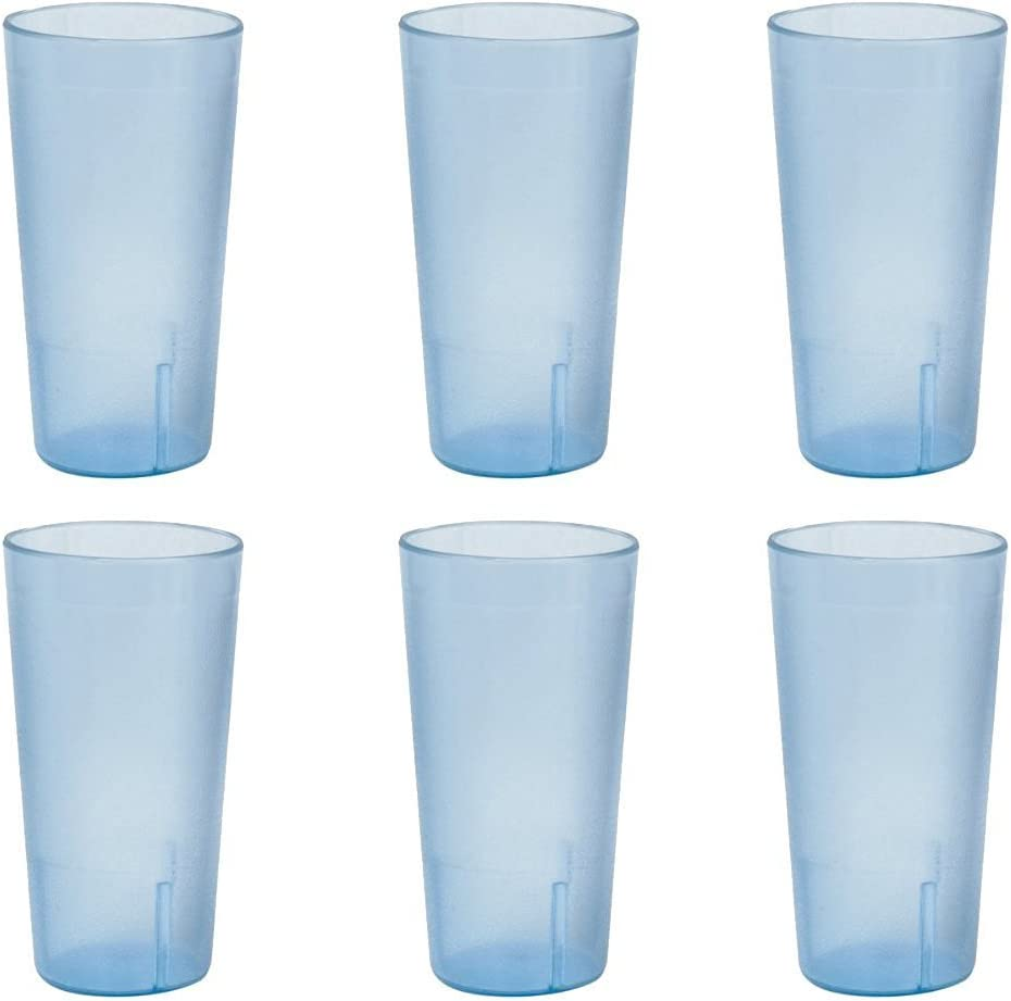 12 oz. (Ounce) Restaurant Tumbler Beverage Cup, Stackable Cups, Break-Resistant Commmerical Plastic, Set of 6 - Blue