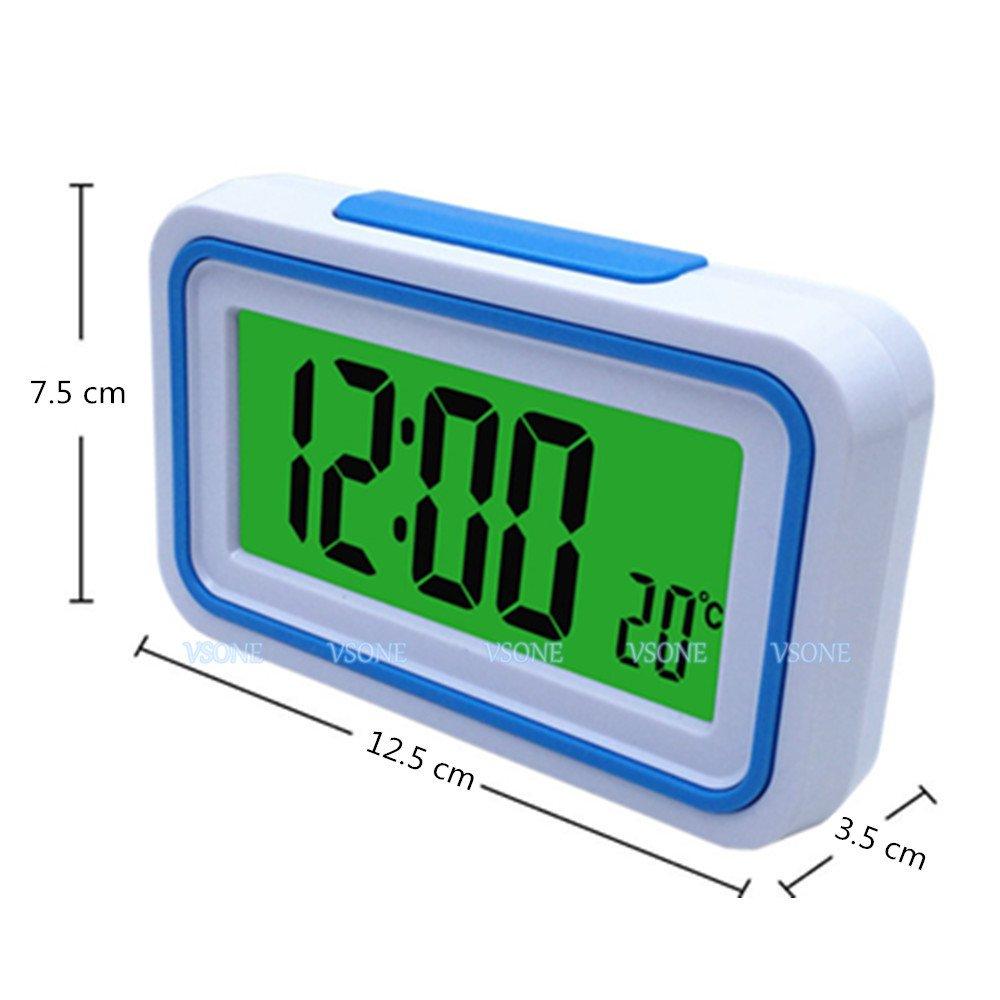 VSONE Reloj Despertador Parlante en Español, Alarma LCD con voz, Reloj Hablando (Blanco y Azul): Amazon.es: Hogar
