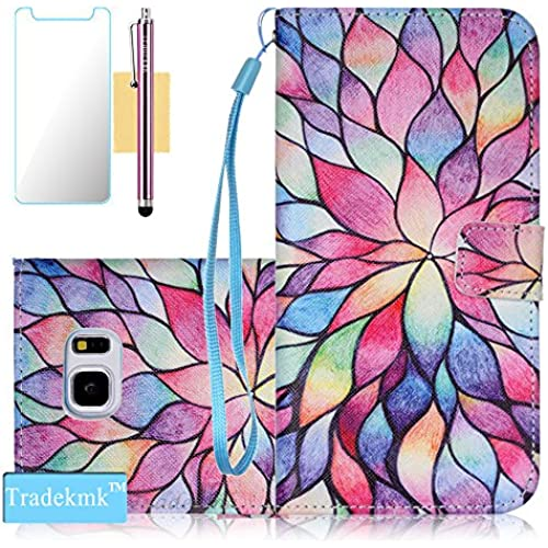 Galaxy S7 Egde Case,S7 Egde Case, Tradekmk(TM);(Pictures Wallet)Colourful Flower Wallet Case For Samsung Galaxy Sales