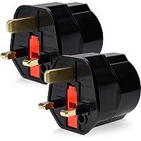 kwmobile 2x Travel Adapter Plug for England - Travel Plug Power Adapter Schuko EU naar UK stopcontact - Travel Plug…