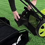 Sun Joe MJ408E 20-Inch 12-Amp Electric Lawn Mower + Mulcher, w/Side Discharge Chute 11 Maintenance free - No gas, oil or tune-ups Detachable grass catcher for easy disposal; Grass collection bag capacity: 14. 5 gal Best use: small to mid-sized lawns