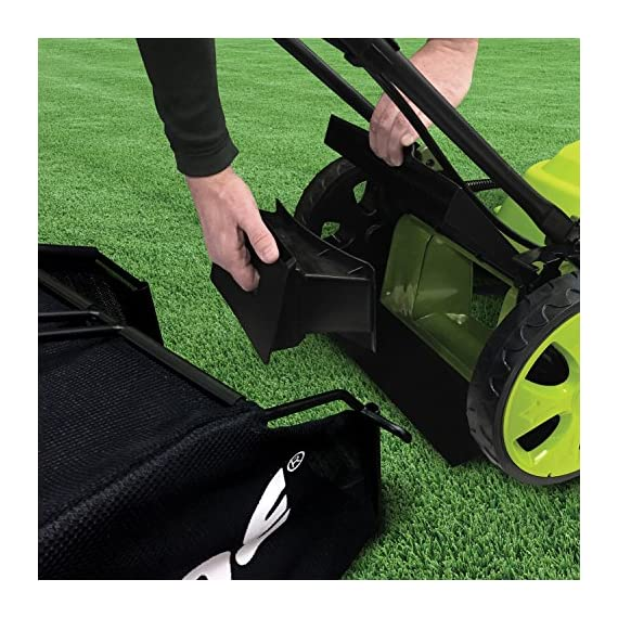 Sun Joe MJ408E 20-Inch 12-Amp Electric Lawn Mower + Mulcher, w/Side Discharge Chute 4 Maintenance free - No gas, oil or tune-ups Detachable grass catcher for easy disposal; Grass collection bag capacity: 14. 5 gal Best use: small to mid-sized lawns