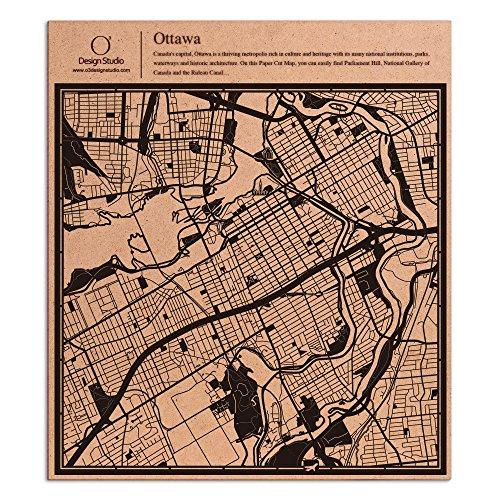 Ottawa Paper Cut Map by O3 Design Studio Black 12x12 inches Paper - State Map Plaza Garden