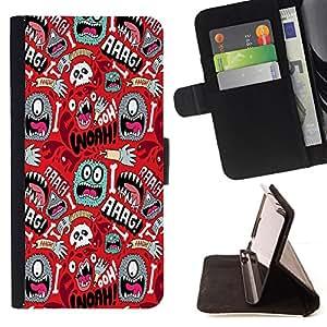 BullDog Case - FOR/Samsung Galaxy S3 Mini I8190Samsung Galaxy S3 Mini I8190 / - / wallpaper mono eye colorful aliens skull hand /- Monedero de cuero de la PU Llevar cubierta de la caja con el ID Credit Card Slots Flip funda de cuer