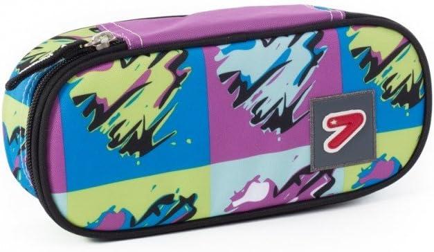 Violet Astuccio Portapenne SEVEN Pencil Bag Round Plus Pop Heart 21x11x3