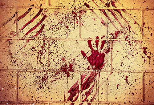Yeele 10x8ft Halloween Background for Photography Handprint Horror Bloody Wall Night Photo Backdrop Children Kids Boys Adult Portrait Booth Shoots Studio Props Wallpaper