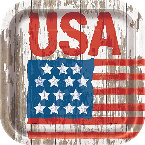 Square Vintage American Flag Dinner Plates, 8ct -