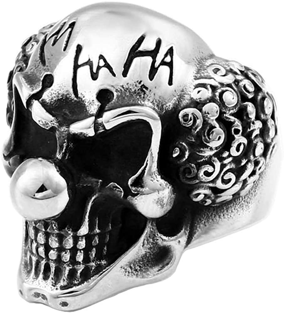 ZMY Home Mens Jewelry Stainless Steel Rings for Men, Gothic Clown Skull Ring