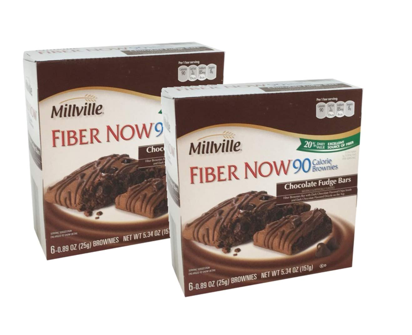 Millville Fiber Now 90 Calorie Fiber Brownies Fudge Bar with Dark Chocolate Chips Inside and Dark Chocolate Drizzle - 12 ct.
