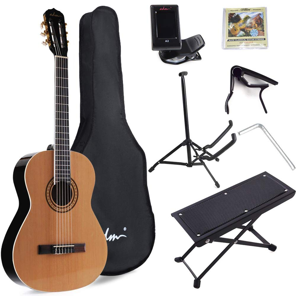 ADM Full Size Classical Nylon Strings Acoustic Guitar with Gig Bag, E-tuner, Strings, Stand, Student Beginner Kits by ADM