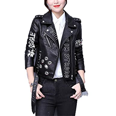 HYDSFG Letters Rivet Leather Jacket Women Punk Moto Coat ...