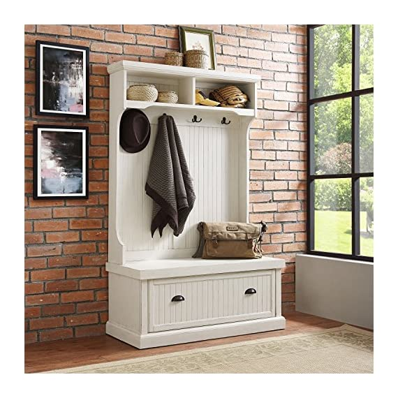 Crosley Furniture Seaside Hall Tree - Distressed White - Classic design featuring beadboard panels Solid hardwood and wood veneer construction Four double hooks for hanging accessories - hall-trees, entryway-furniture-decor, entryway-laundry-room - 61NB9Vq04mL. SS570  -