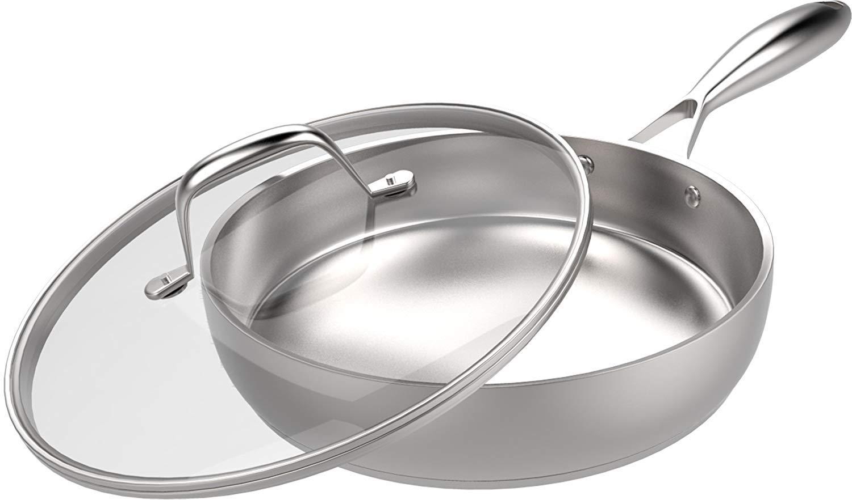 Sartén - Sarten Antiadherente - Acero Inoxidable Sarten Induccion - 30.5 cm - Plata - por Utopia Kitchen: Amazon.es: Hogar