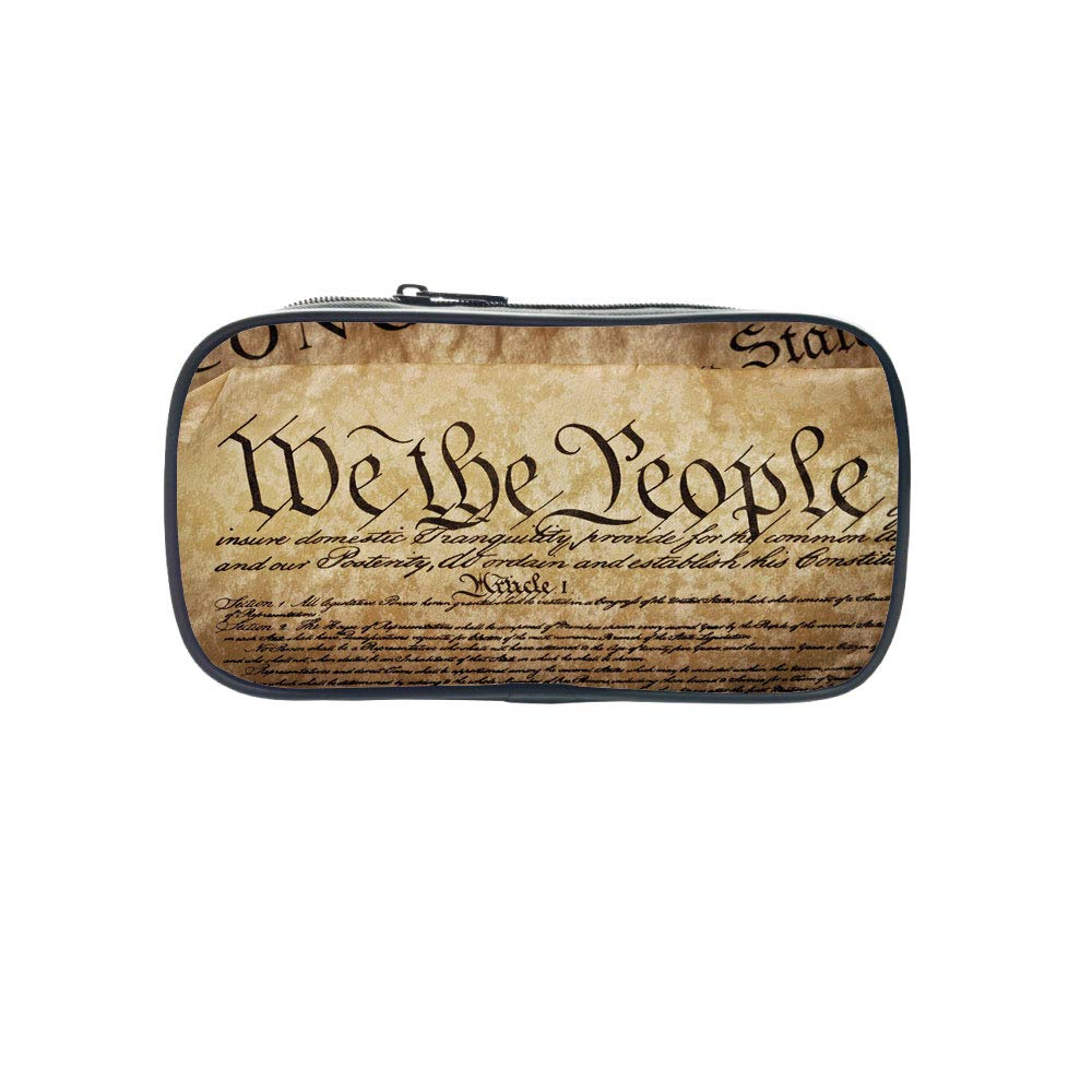 Customizable Pen Bag,United States,Vintage Constitution Text of America National Glory Fourth of July Image,Light Brown,for Kids,3D Print Design
