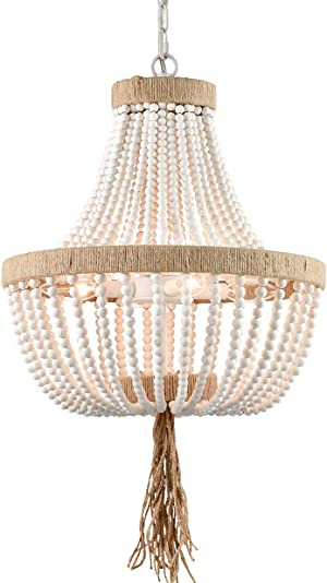 Farmhouse White Wood Beaded Chandeliers Large Dining Room Pendant Chandelier Wooden Bead Chandelier