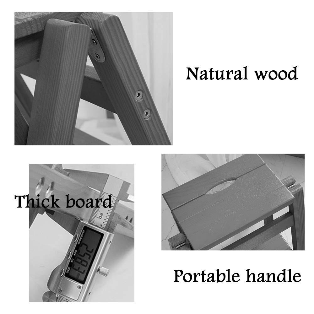 Nussbaum Farbe WZ-Klappstufen Leiter Stuhl Hocker multifunktions Holz Faltbare Regalleiter Startseite Bibliothek 3 Schritte 150 kg Kapazit/ät