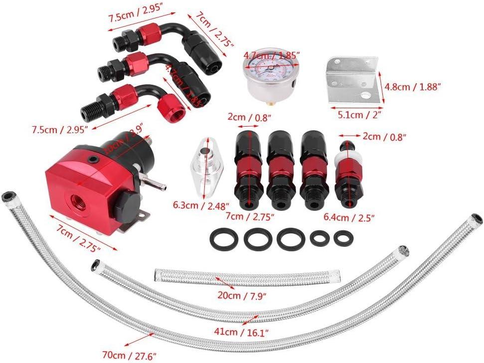KIMISS Universal Adjustable Aluminum Auto Car 0-160 PSI Fuel Pressure Regulator Kit W//Oil Gauge