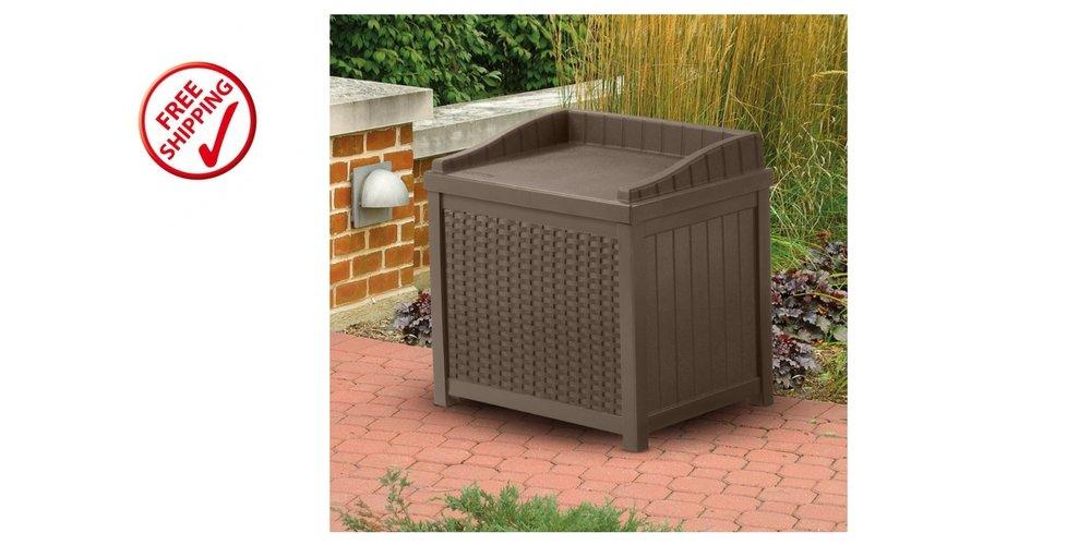 Outdoor Storage Seat 2 Gallons Capacity Unit Plastic Waterproof Patio Furniture