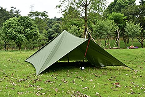 crayfomo Ultralight Tent Lona Impermeable Anti-UV Gran Verde Hamaca Lona portátil Sol Lluvia Refugio Mochila Camping Rainfly con estacas Cuerda: Amazon.es: ...