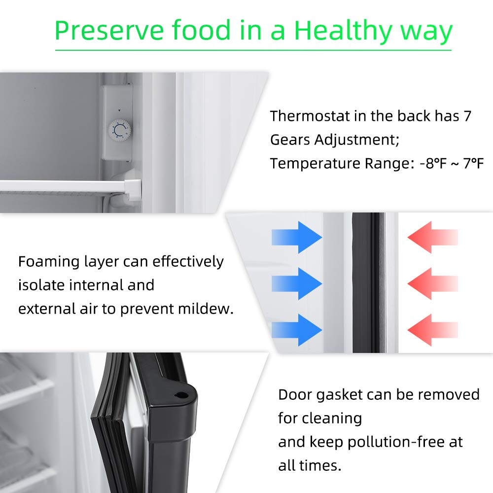 Joy Pebble Free Standing Upright Freezer with Removable Shelf Adjustable Thermostat 2.1 cu.ft, Black Compact Reversible Single Door Vertical Freezers for Home//Hotel//Apartment//Office