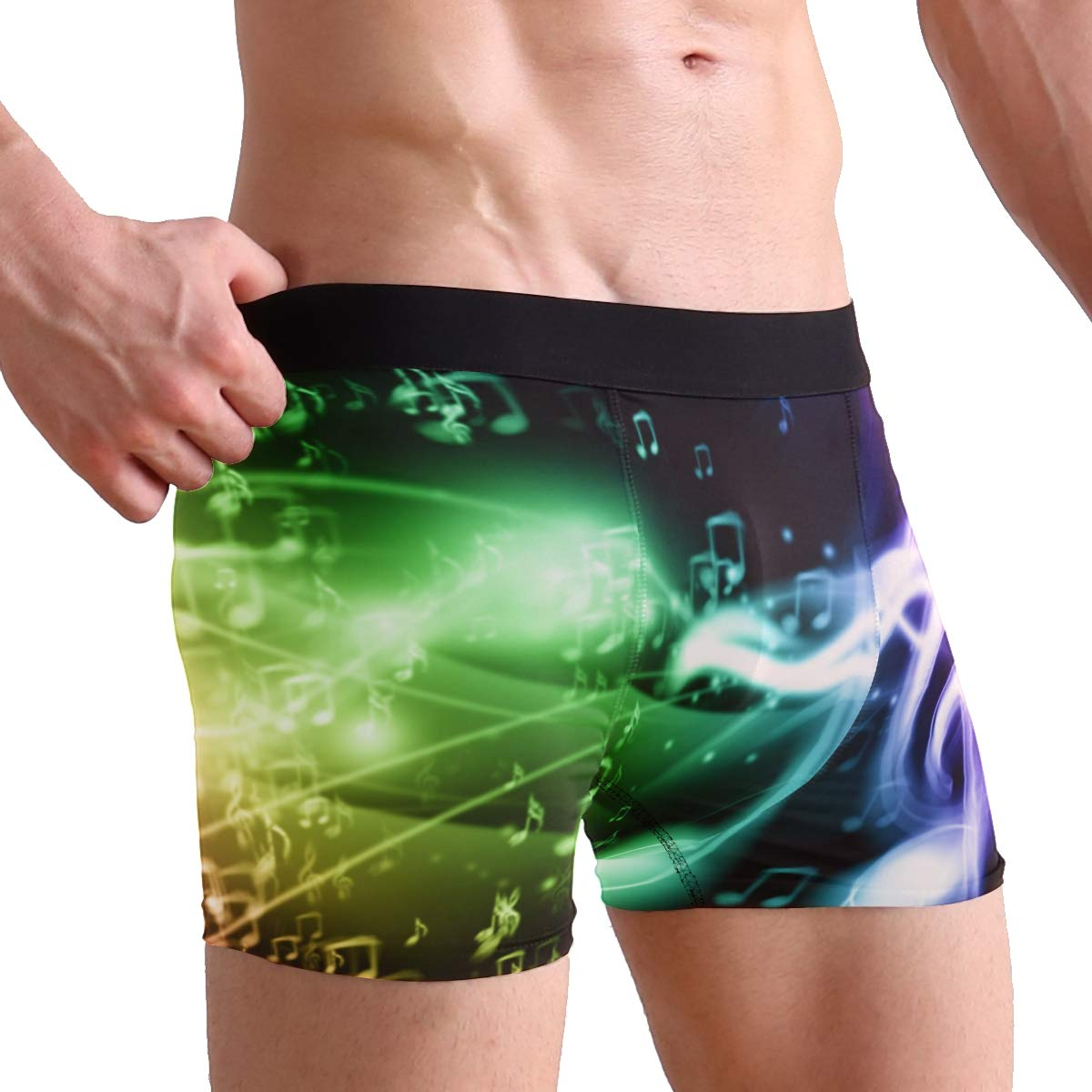 Boxer Briefs Mens Underwear Colorful Music Notes Trunks for Men