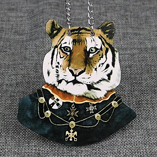 Price comparison product image INEBIZ Harajuku Style Plywood Tiger Lady Animals Sweater Necklace Car Charm Rearview Mirror Hanging Pendant (tiger)