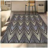 Cheap Superior Arete Collection Area Rug, 6mm Pile Height with Jute Backing, Affordable and Contemporary Rugs, Chic Designer Inspired Chevron Pattern – 8′ x 10′ Rug, Slate