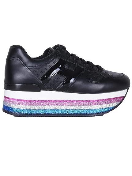 Hogan Mujer GYW407BA42I6SB999 Negro Cuero Zapatillas: Amazon.es: Zapatos y complementos