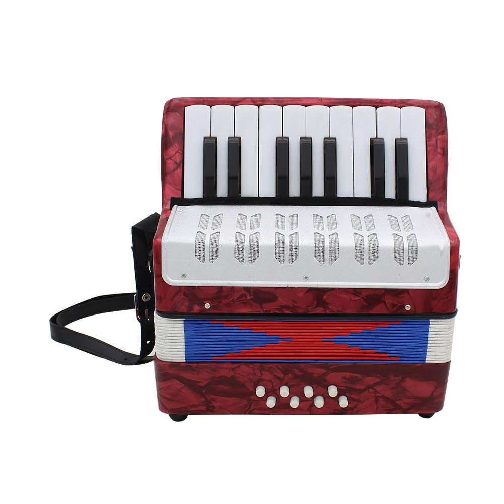 OUYAWEI 17 Key Professional Mini Accordion Educational Musical Instrument for Both Kids Adult red by OUYAWEI