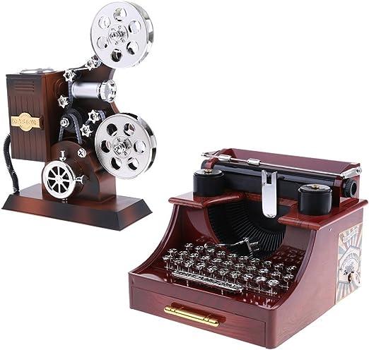 Tubayia - Caja de música Vintage con proyector, diseño de máquina ...