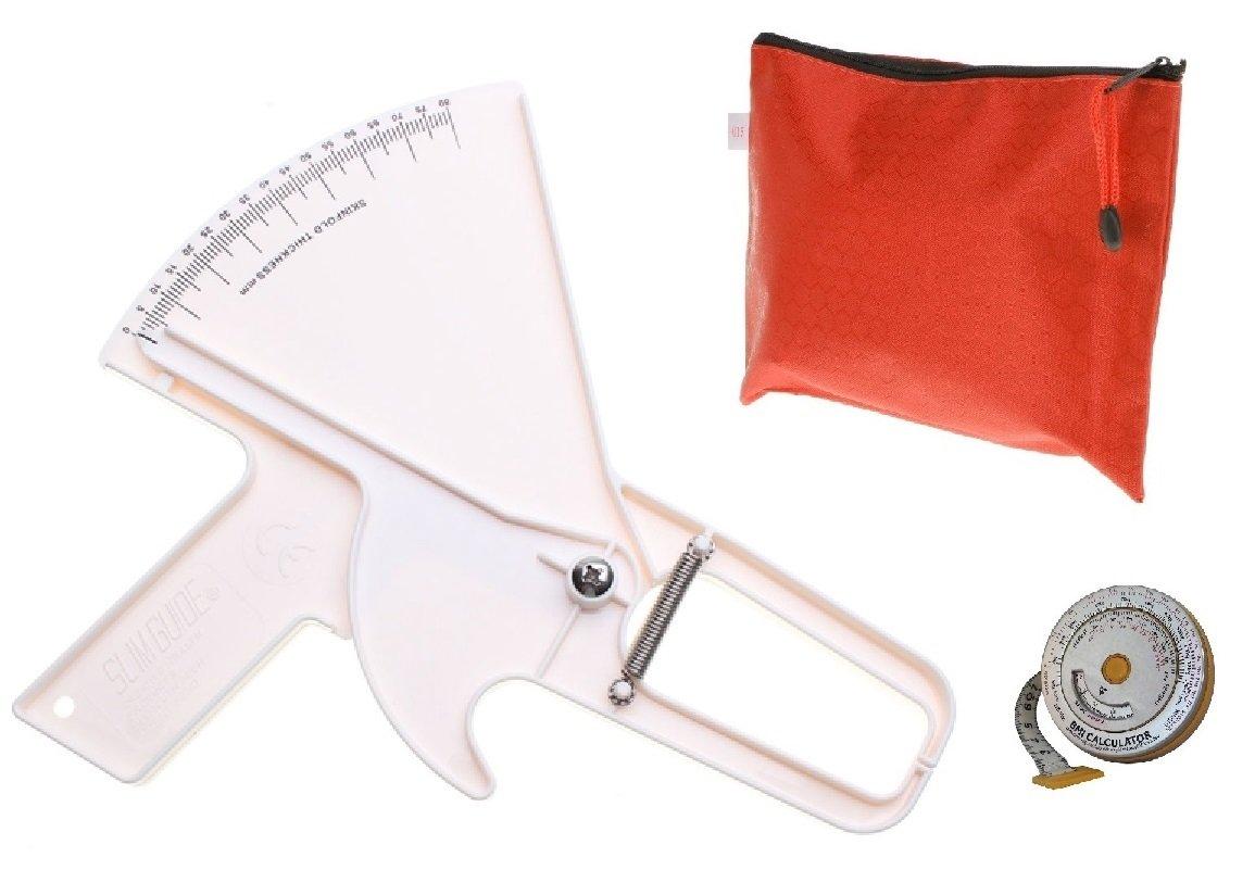 Slim Guide Skinfold Caliper w/ BMI Tape Measure, Transport Bag (White)