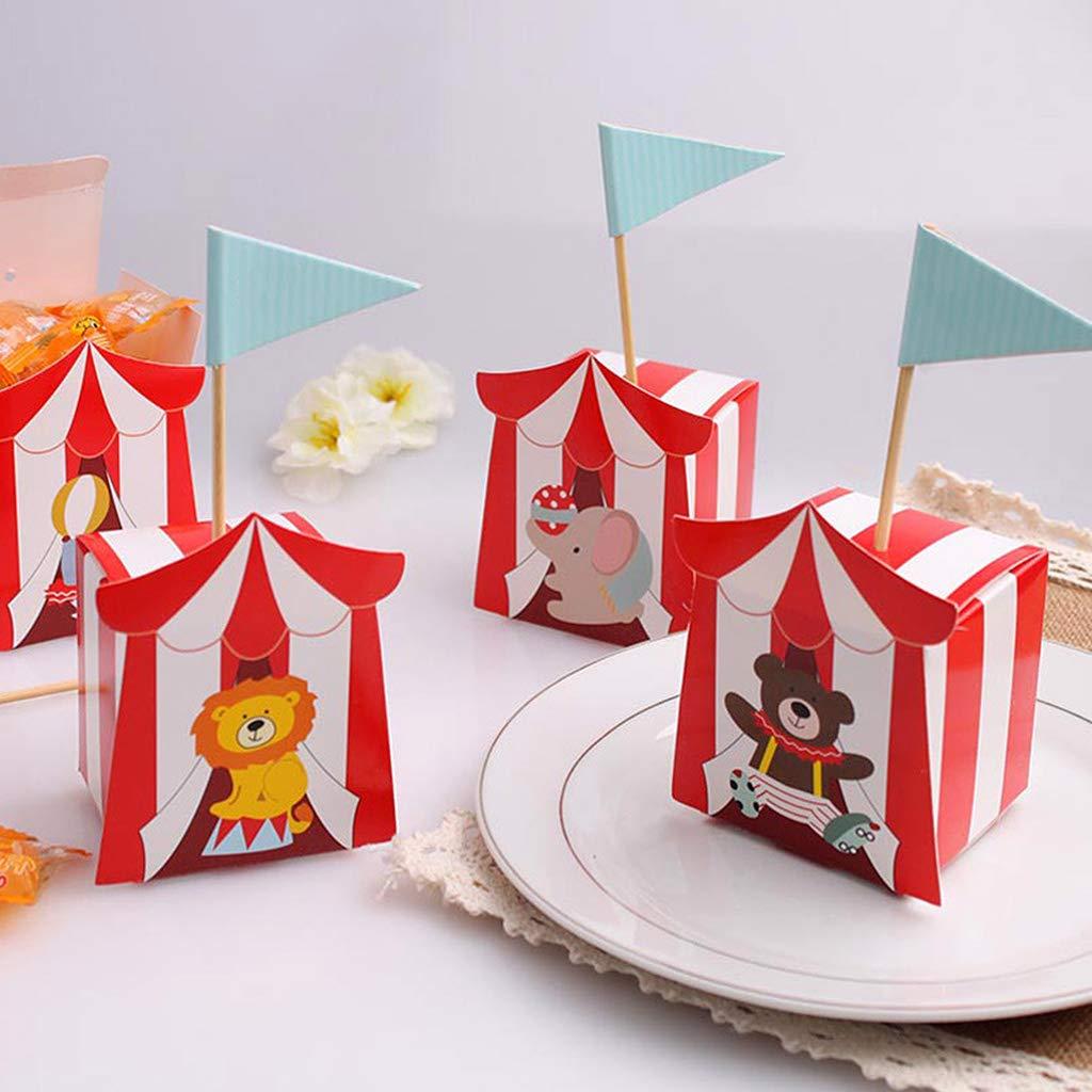 Yanhonin 25 Piezas Cute Circus Theme Party Cajas para Dulces Bautizo Cajitas Regalo Bautizo