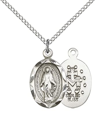 Sterling Silver Miraculous Pendant with 18 Sterling Silver Lite Curb Chain.