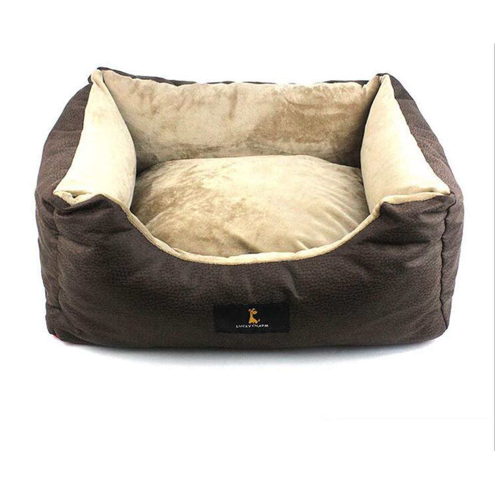 Brown Medium Brown Medium ZHENG Pet supplies new kennel small and medium dog pad,Brown,M