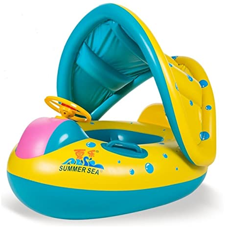 Anillo Con Piscina del Barco Balsa Tubo del Flotador-Sentado, Niño del Bebé,